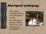 aboriginal pedagogy