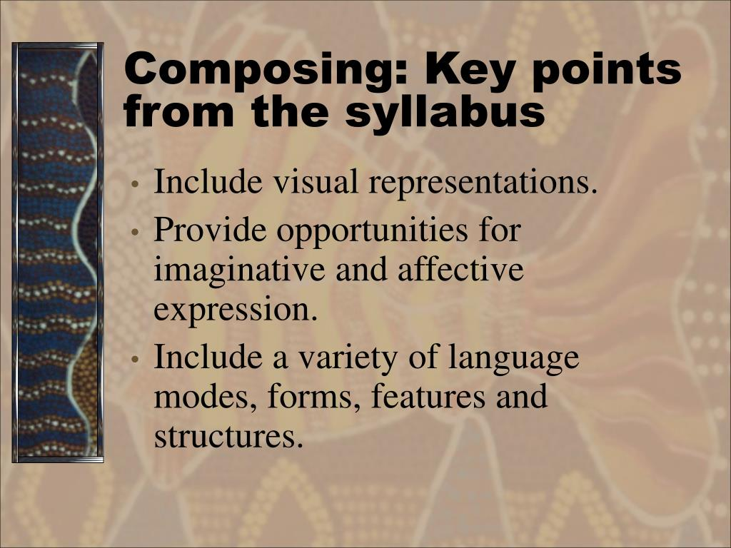 Composing: Key points from the syllabus