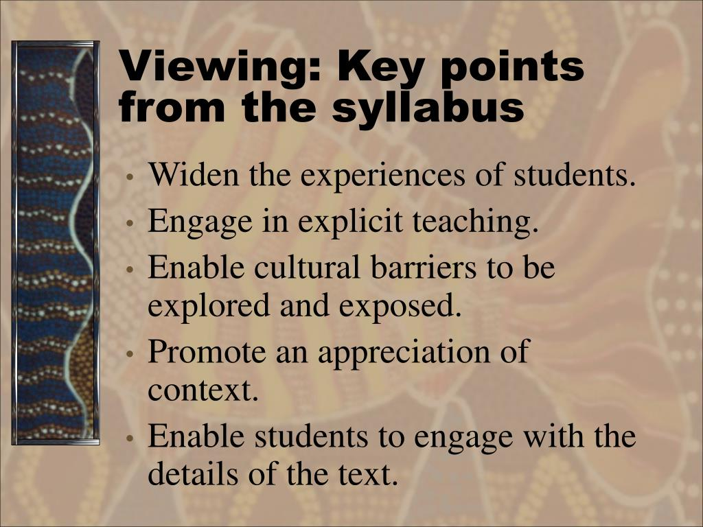 Viewing: Key points from the syllabus