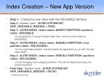index creation new app version1