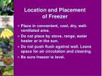 location and placement of freezer