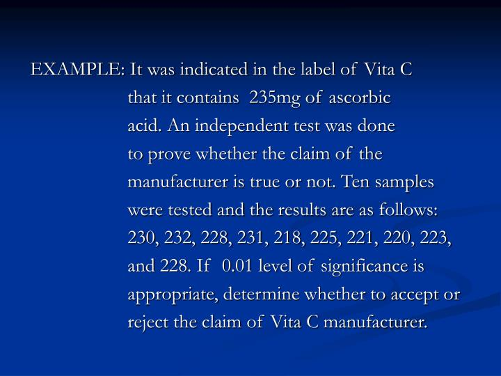 EXAMPLE: It was indicated in the label of Vita C