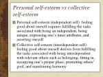 personal self esteem vs collective self esteem