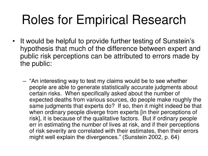 Roles for Empirical Research