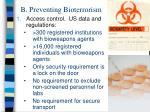 b preventing bioterrorism