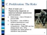 c proliferation the risks