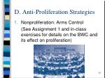 d anti proliferation strategies