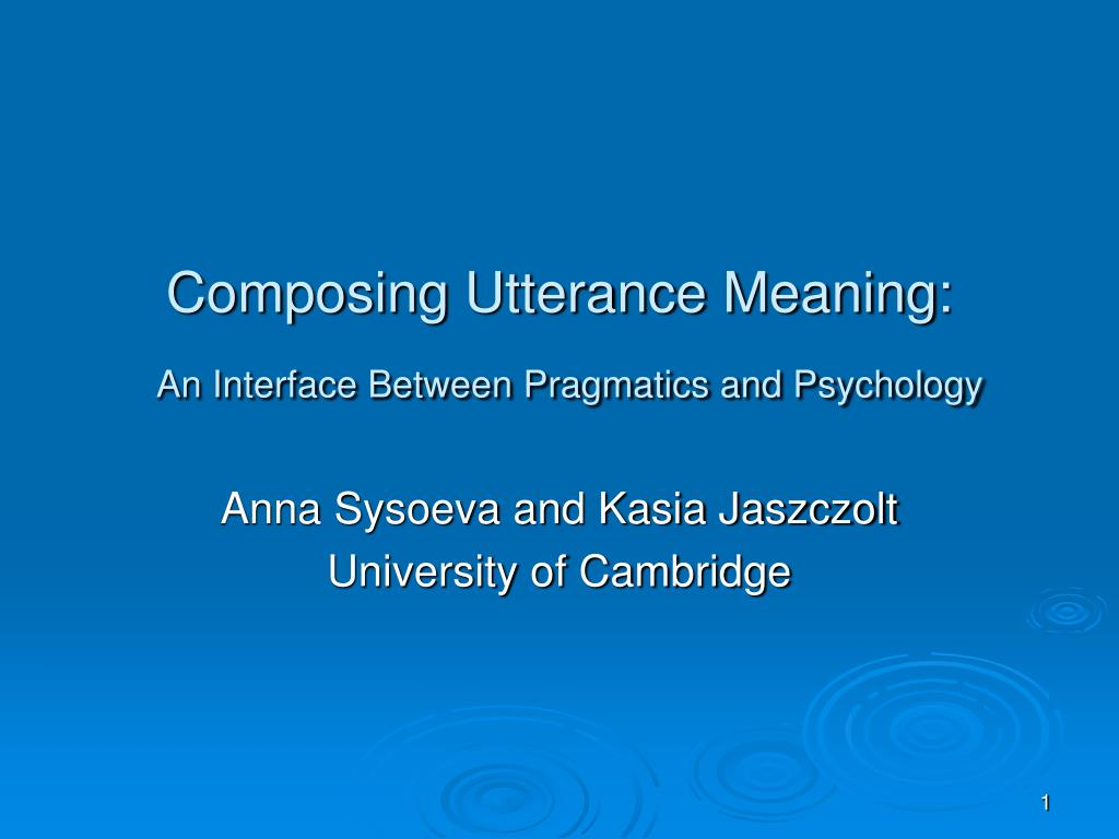 Composing Utterance Meaning: