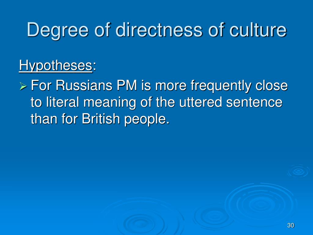 Degree of directness of culture