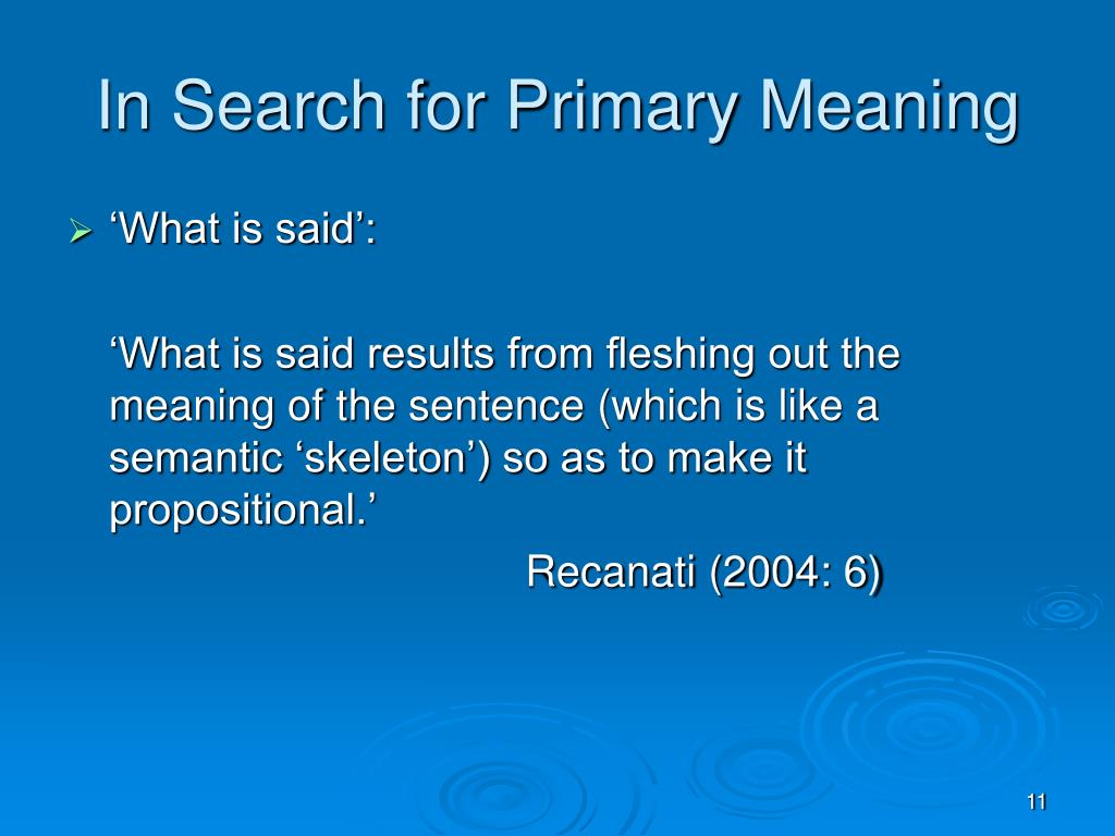 In Search for Primary Meaning