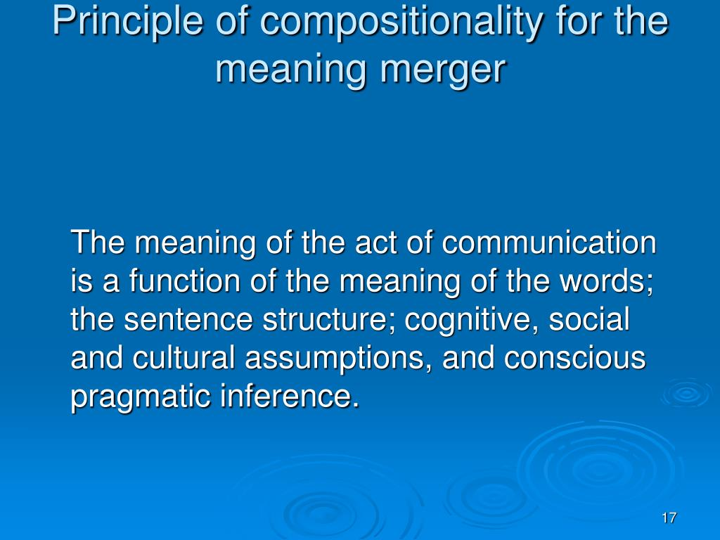 Principle of compositionality for the meaning merger