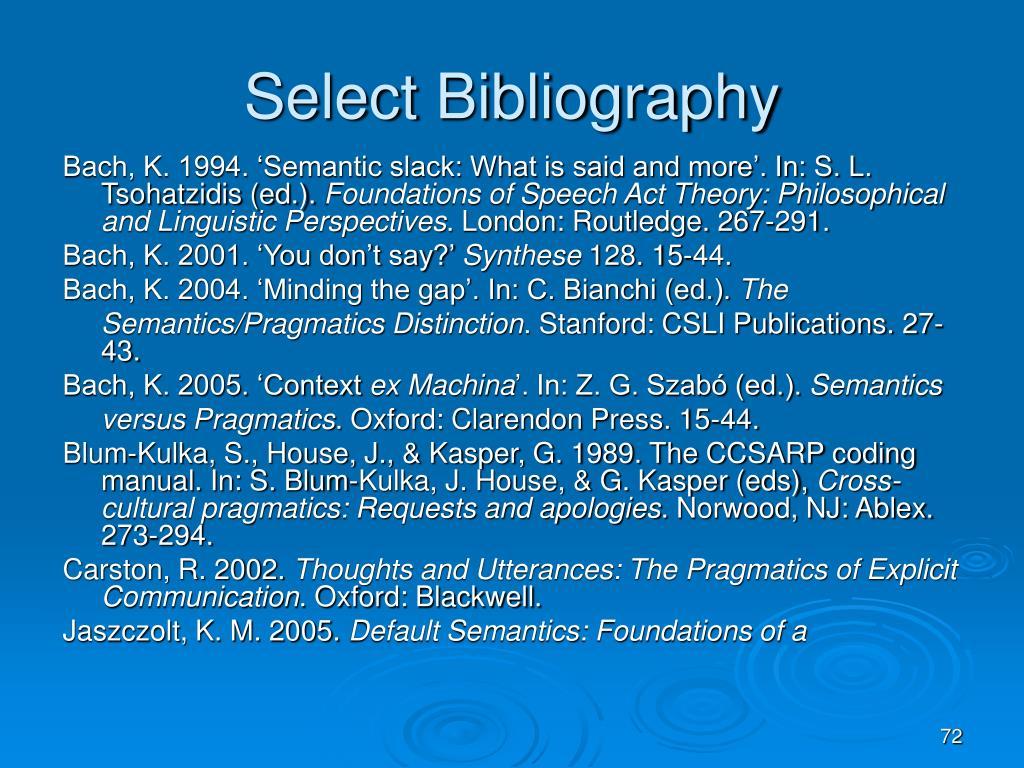 Select Bibliography