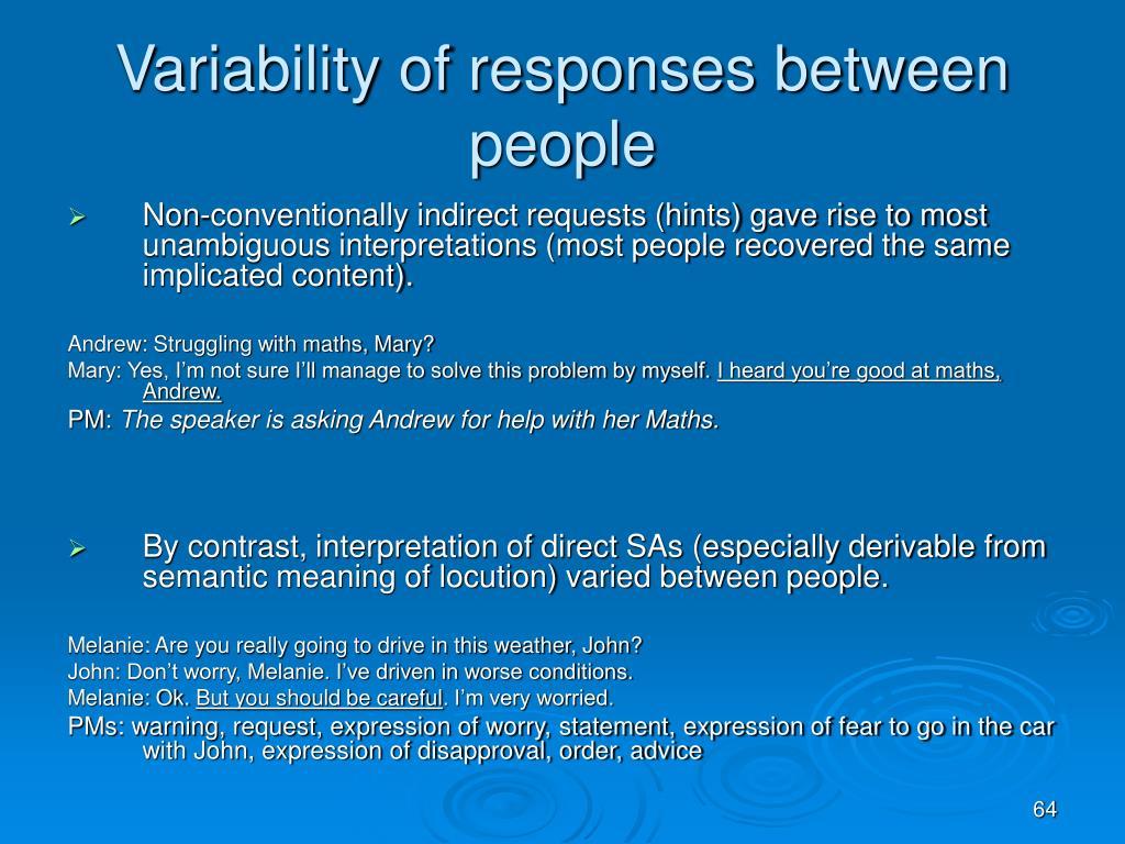 Variability of responses between people