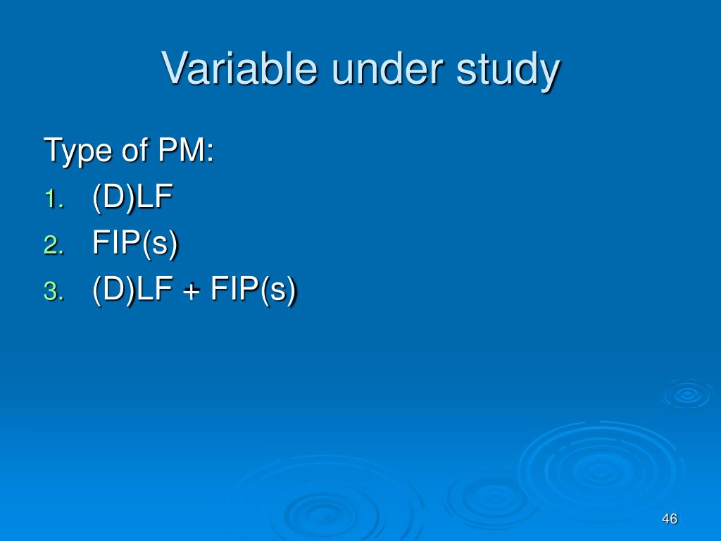 Variable under study