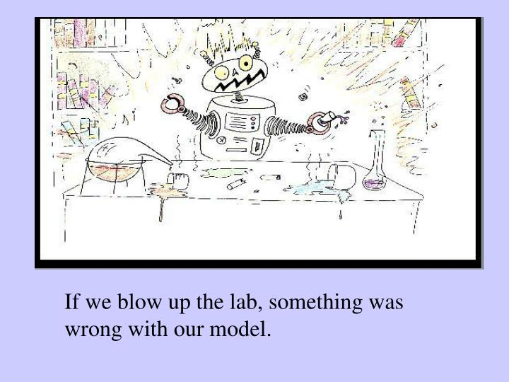 If we blow up the lab, something was wrong with our model.