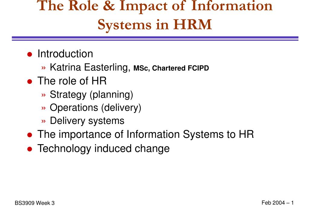 the role impact of information systems in hrm l.