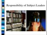 responsibility of subject leaders