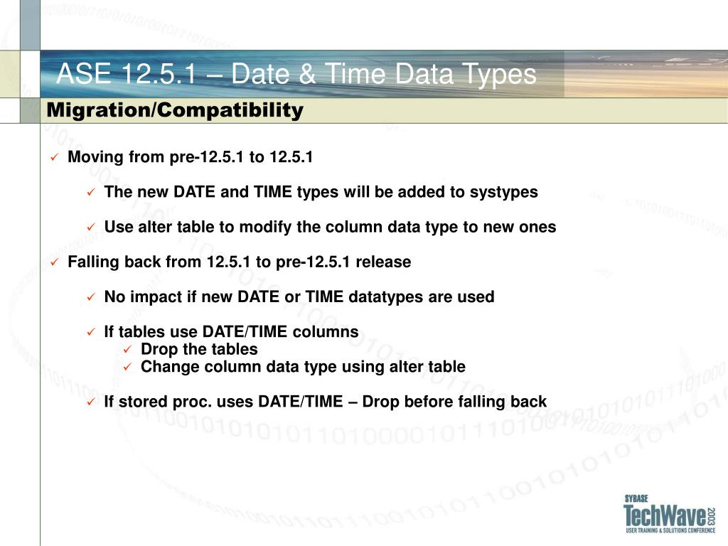 ASE 12.5.1 – Date & Time Data Types
