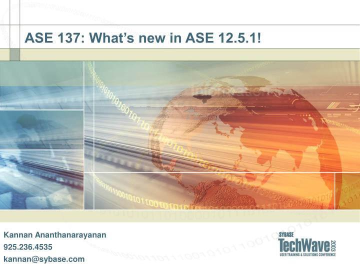 ase 137 what s new in ase 12 5 1 n.
