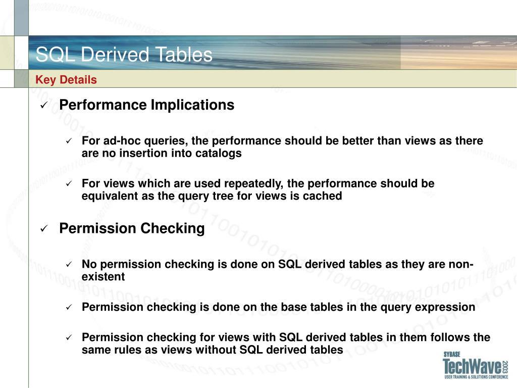 SQL Derived Tables