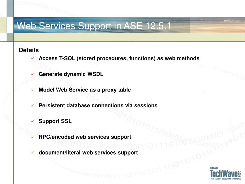 Web Services Support in ASE 12.5.1