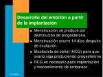 desarrollo del embri n a partir de la implantaci n