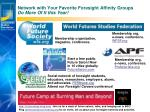 network with your favorite foresight affinity groups do more of it this year