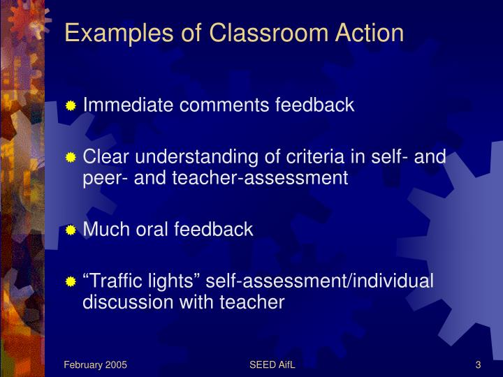 Examples of classroom action1
