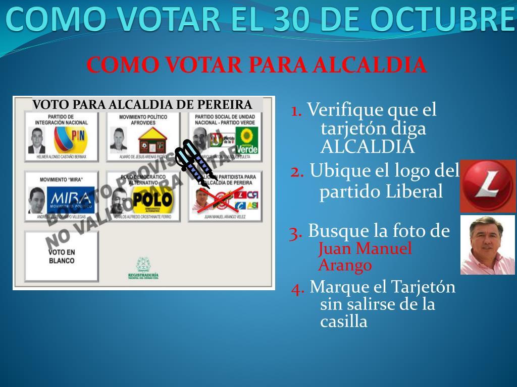 COMO VOTAR EL 30 DE OCTUBRE