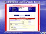 mi 3 sample station details form
