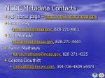 ncdc metadata contacts