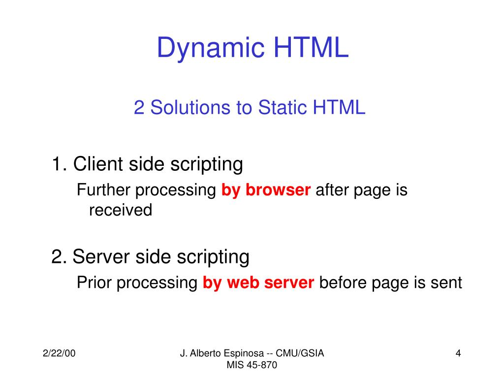 PPT - Dynamic HTML Using Active Server Pages (ASP