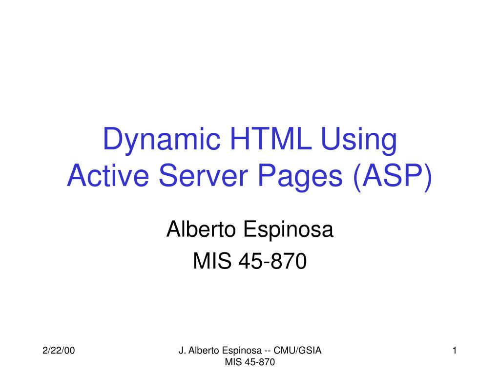 dynamic html using active server pages asp l.