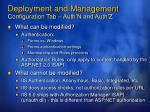 deployment and management configuration tab auth n and auth z