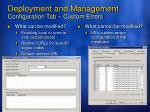 deployment and management configuration tab custom errors