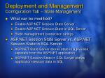 deployment and management configuration tab state management