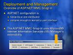 deployment and management overview of asp net mmc snap in