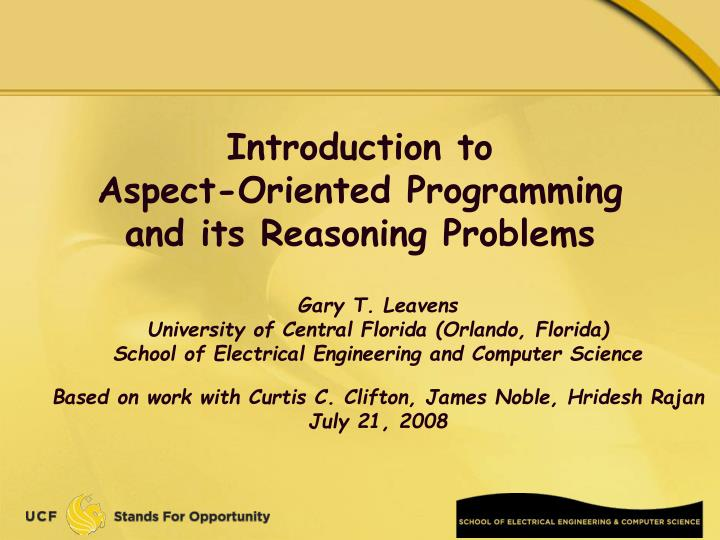 introduction to aspect oriented programming and its reasoning problems n.