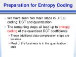 preparation for entropy coding
