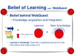 belief of learning with webquest