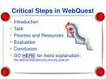 critical steps in webquest
