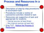 process and resources in a webquest