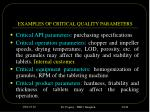 examples of critical quality parameters