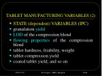 tablet manufacturing variables 2