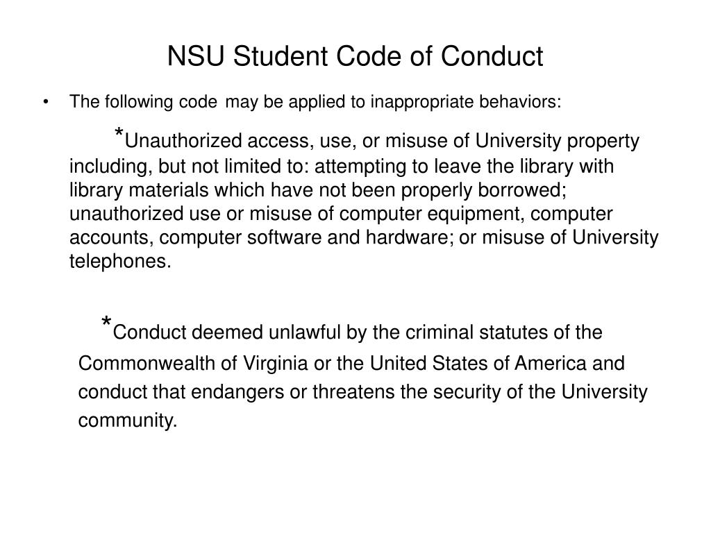 NSU Student Code of Conduct