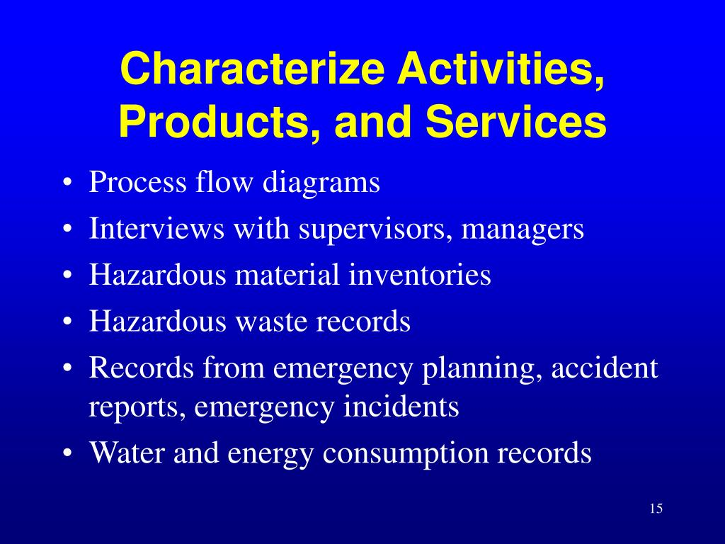 Characterize Activities, Products, and Services
