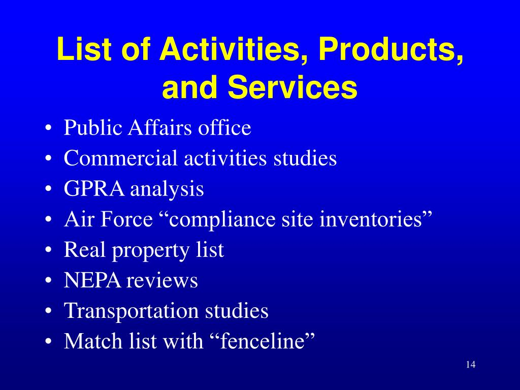 List of Activities, Products, and Services