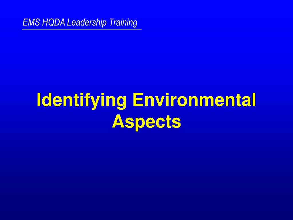 identifying environmental aspects l.