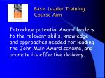 basic leader training course aim