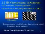 2 2 1d nanostructure i nanowires